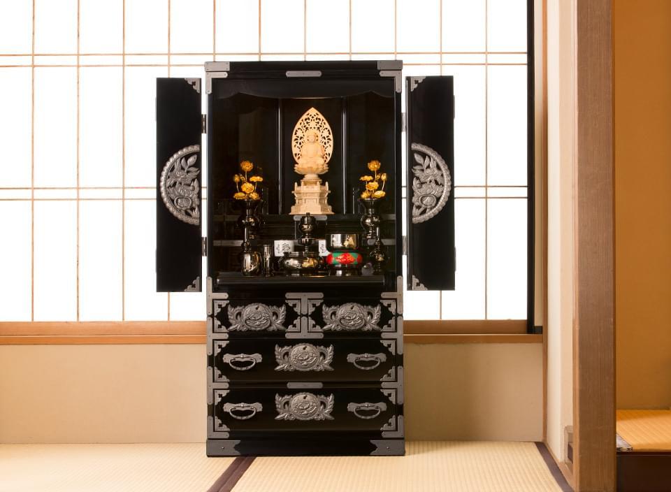 仙台仏壇(中)KB-126D 木地呂漆塗り