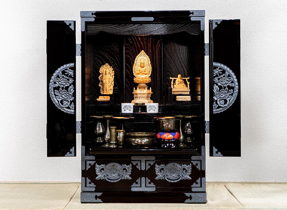 仙台仏壇(上置)KB-565D 木地呂漆塗り